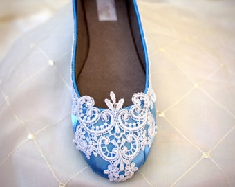 Blue Flats -Blue wedding shoes - The Lyria Size 8.5 SALE