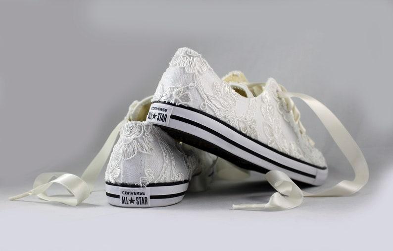 d3d8119536db8 RUSH Ivory Bridal Converses Ready to ship --Lace Converse -- Wedding Tennis  shoes - Wedding Converse