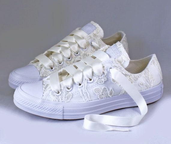 Floral Ivory Lace Monochrome Bridal Converses Floral Ivory Lace Converse Wedding Tennis shoes Wedding Converse