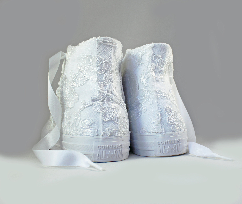 Lace High Top Converses White Floral Lace Bridal