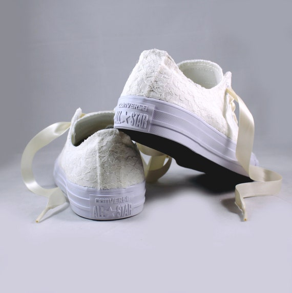 Ivory Lace Bridal Converses Ivory Lace Converse Wedding Tennis shoes Wedding Converse
