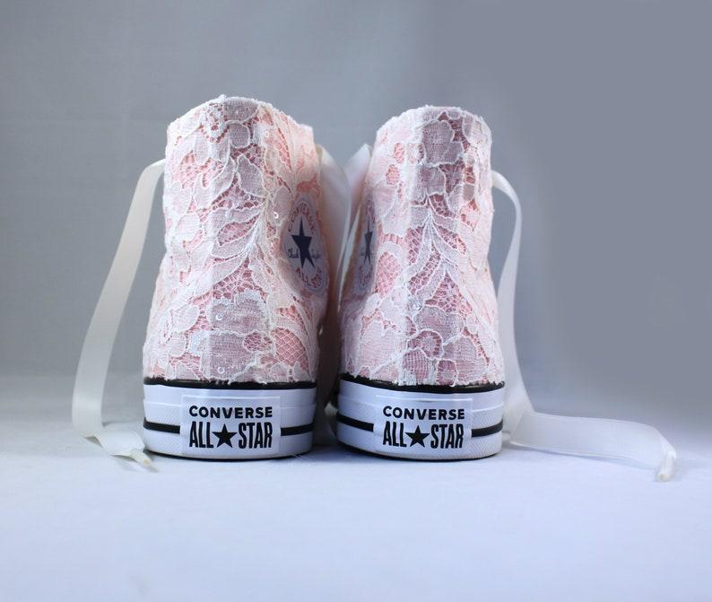 b4761f0cfb5c49 Ivory Lace High Top Converses Storm Pink Bridal Converses