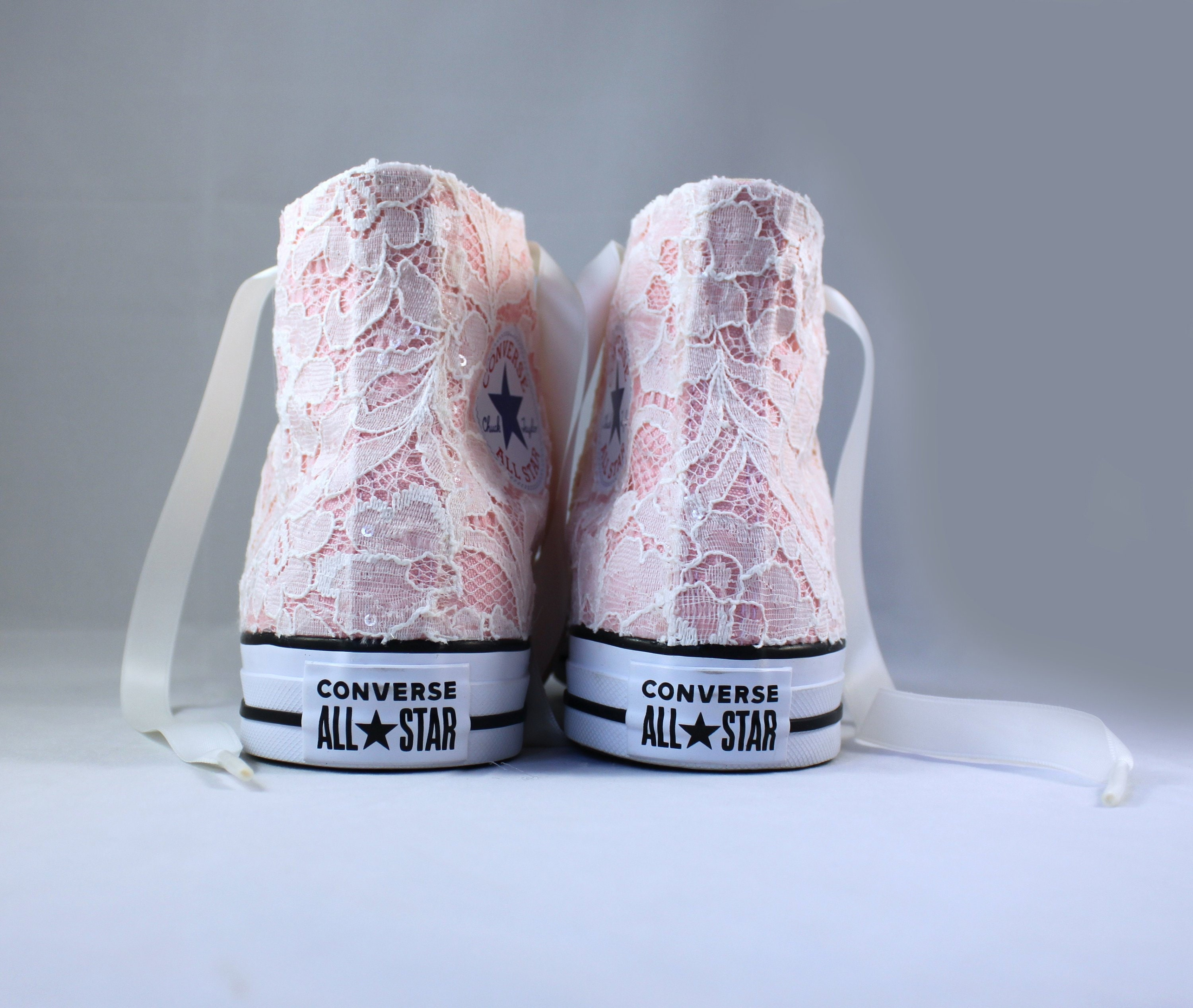 321a658c759fac new style converse all star high tops 5 colours 51dd3 4c6b5  switzerland  ivory lace high top converses storm pink bridal converses wedding tennis  shoes ...