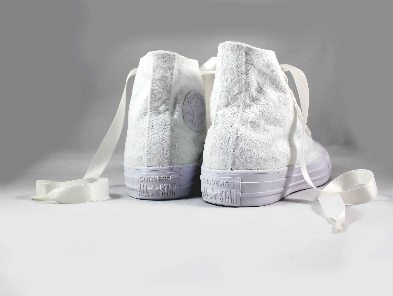 d18adc5661ee Lace High Top Converses --Bridal Converses -- Wedding Tennis shoes