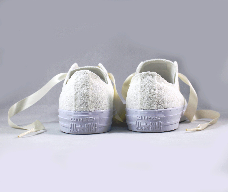 f2ab2f11fcb2 Ivory Lace Bridal Converses -- Ivory Lace Converse -- Wedding Tennis shoes  - Wedding Converse