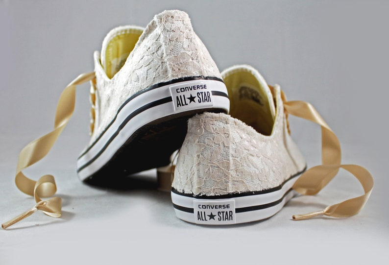 4f0b6f9149343 Champagne Lace Wedding Converse -Champagne Lace Bridal Converses  --Champagne Lace Converse -- Wedding Tennis shoes