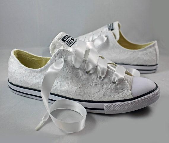 3b17b9c3724c8 RUSH Bridal Converses Ready to ship --Lace Converse -- Wedding Tennis shoes  - Wedding Converse