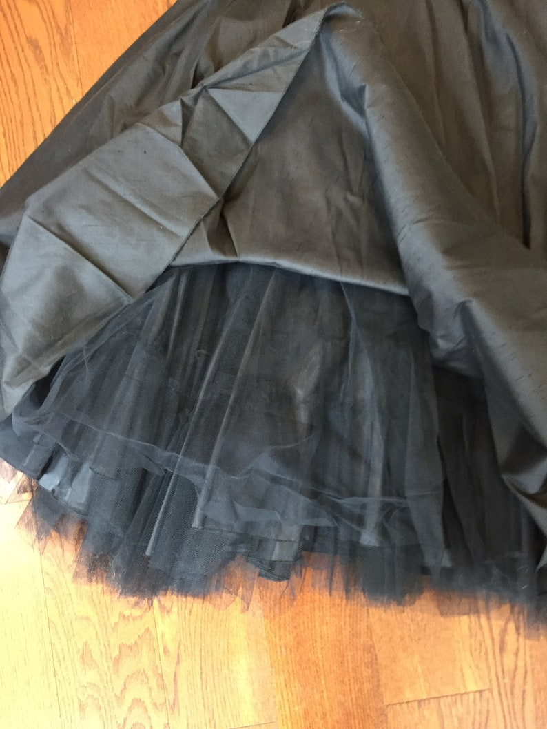 Perfect for Wedding or Bridesmaid Black Handmade Raw Silk Tea Dress with Tulle 1950s1960s Style