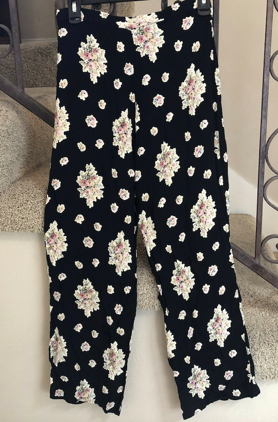 Vintage Betsey Johnson floral pants, S