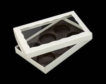 White 6 Cavity Tray Box with Window Cookie Box