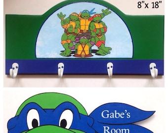 kids coat rack, boys coat rack, boys room signs, ninja turtle room decor, boys room decor, children's coat rack, personalized coat rack