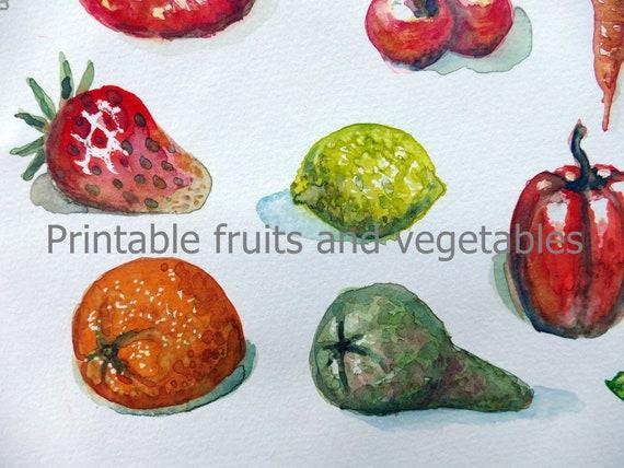 Clip Art Gemüse Und Obst Zum Herunterladen Und Ausdrucken Etsy