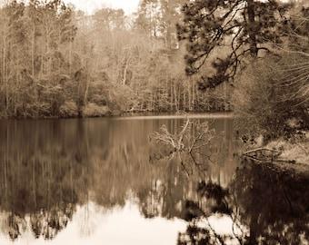 The Lake, Sepia, Landscape Photography, Fine Art Print