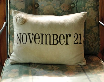 Anniversary Date Pillow Cover