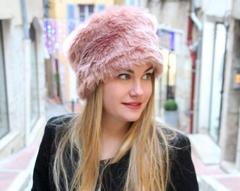 Winter hat, fur hat, fake fur hat, pink hat, pillbox hat, womens winter hat,  faux fur hat, warm hat, russian hat, cossack hat, womens hat 107d70ba7c1