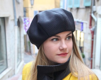 Beret, French beret, Wool beret, Beret hat, Slouchy Berets, Womens hat,  Hats, Winter beret, Winter accessories, Black hat, Made in France 73dc1adc881