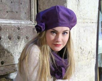 Hat and scarf set, wool hat and scarf, winter hat set, winter scarf set,  womens hat scarf combo, hat scarf combo, hat scarf ensemble, beret 53a4bb1f917