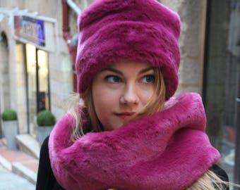 Faux fur hat and scarf set. Russian fur hat. Pink fake fur hat and scarf. Fake  fur winter hat. Cossack hat. Russian style hat and scarf set. 2424521a6458