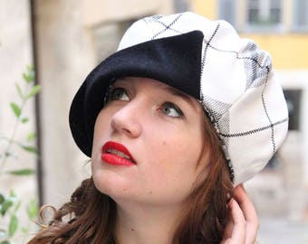 White tartan newsboy hat. White and black fabric hat. Slouchy french beret.  Womans fabric hat. Unique hat. Fabric newsboy hat. Tartan hat. 64d54bd5199