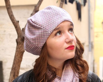French beret. Unique wool beret handmade in France. A unique Pink fabric hat.  Slouchy womens beret beanie hat. Gift for her. Fall accessory. 40accd2adb2