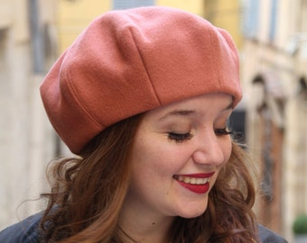 Salmon pink wool fabric beret. French beret hat for women, womens hat,  Fashion hats for women, Womans beret tam hat, Trendy hat, Women beret 46769018cdf