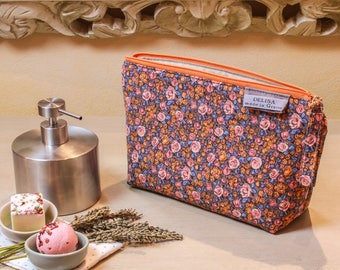 Flowery zipper pouch. Cosmetic bag. medium sized makeup bag. Toiletry bag. Travel cosmetic case. Large zipper. Made to order
