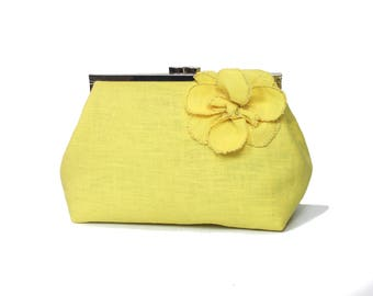21acd2f85c Bridesmaid clutch chic clutch bag Wedding clutch Yellow clutch bag Linen bag  Gift for mom Yellow bridesmaid Wedding bag deluxe makeup bag