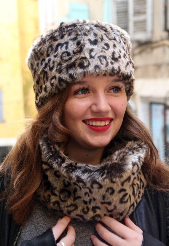 Fake fur russian hat Cossack hat Faux fur leopard print hat  59ba80b7446