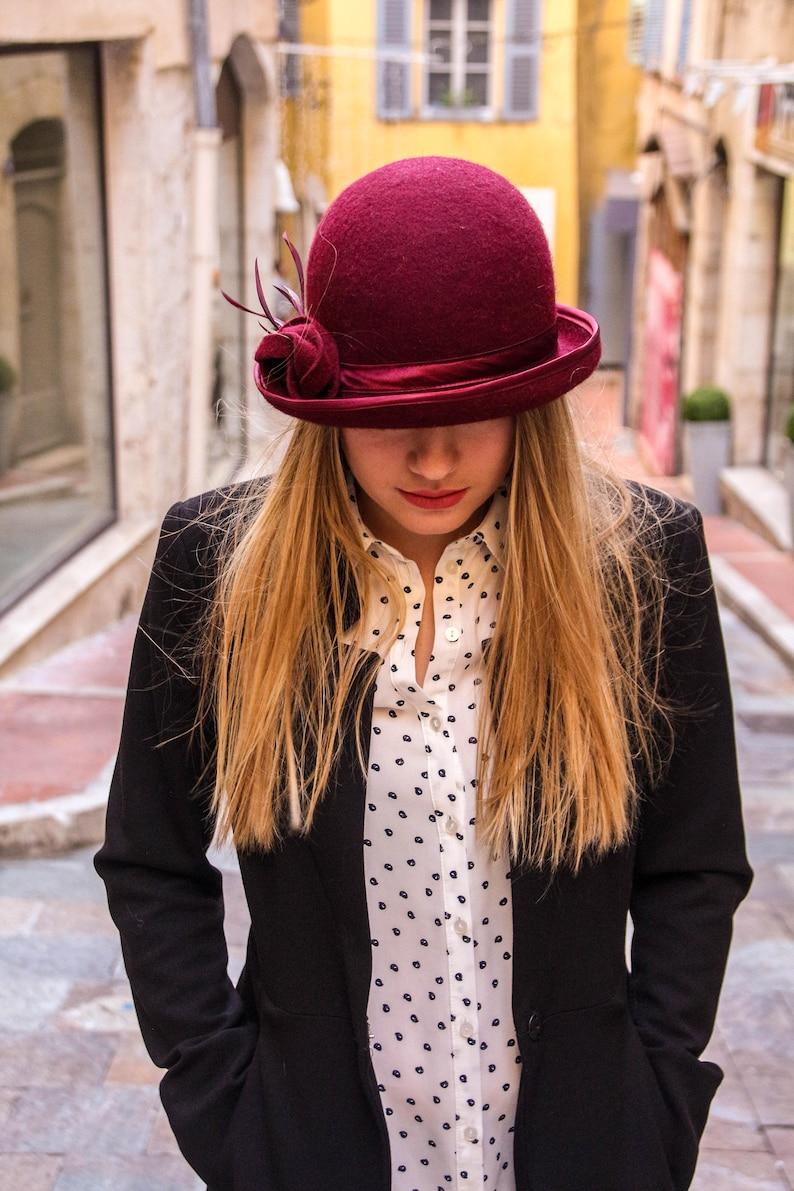 fdf602c01935e Fur felt hat bowler hat felt bowler small brim hat womens