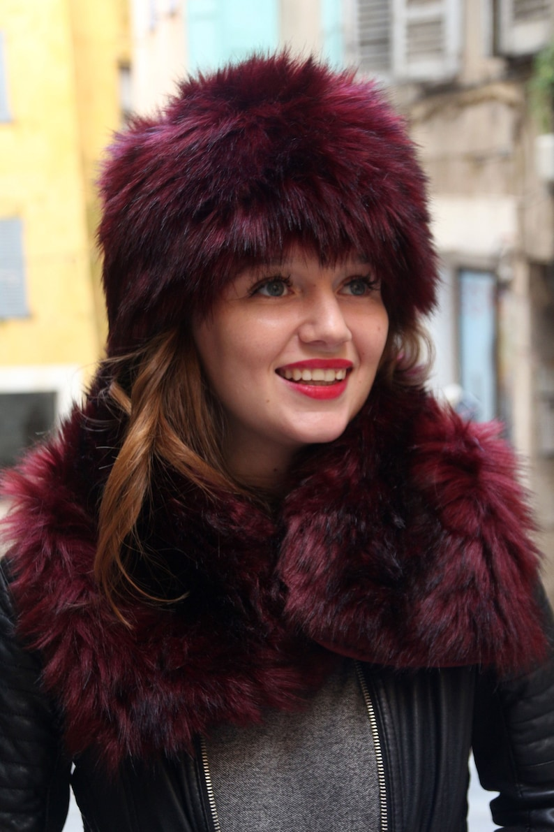 b50f77f2a Russian hat, Fake fur hat, Womans cossack hat, dark red fur hat, Warm  winter hat, Unique hat, Womens winter hat, Faux fur hat, Pillbox hat