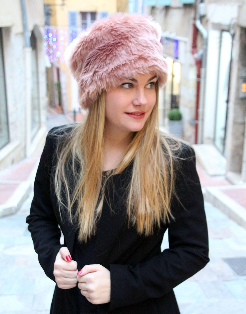 Winter hat fur hat fake fur hat pink hat pillbox hat  19bc99ee610