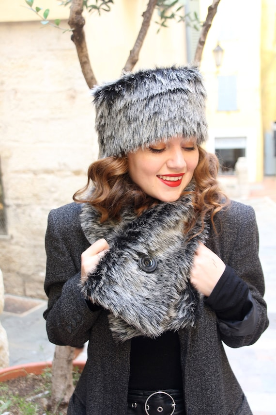 Faux fur hat and scarf set Black and gray fake fur hat scarf  6af0ffa85fa