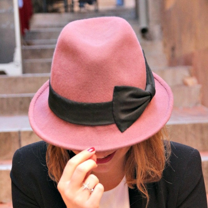 60c33211301 Dusky pink womans fedora hat. Designer French millinery hat.