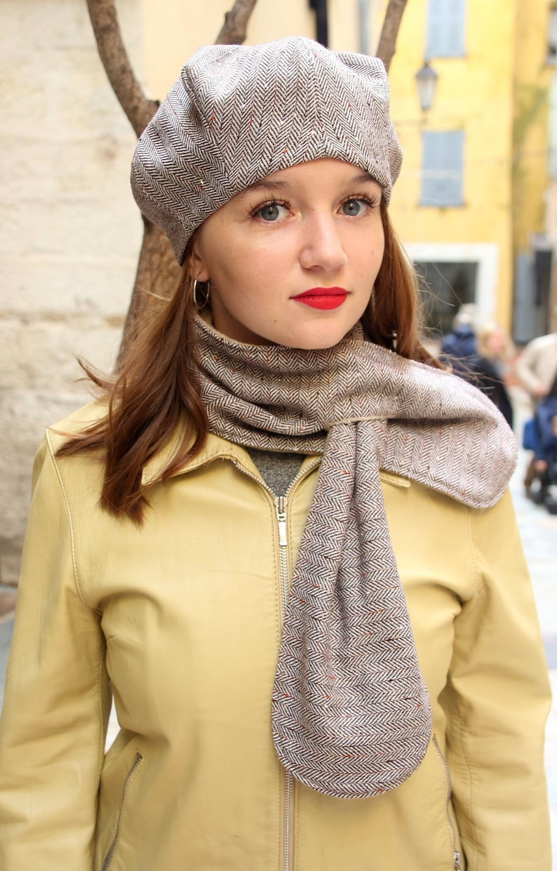 217b5ca402d Wool scarf and hat womens hat french beret and scarf