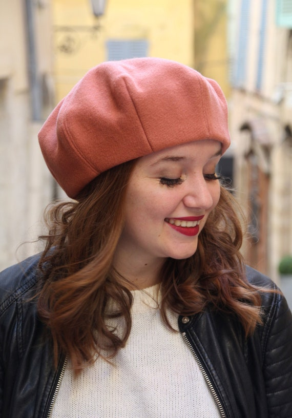 Salmon pink wool fabric beret. French beret hat for women  66eb5143647
