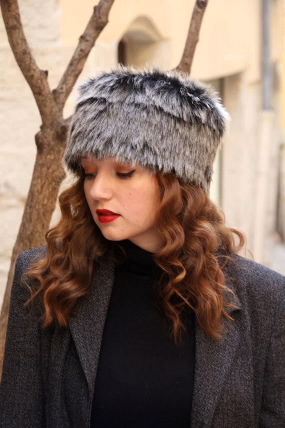 Winter Pelzmütze, Ton zwei schwarzen und grauen russischen Kunstpelz Hut Fell pillboxhut Wintermütze Kunstfell, Kosaken Hut, grauen Pelzhut, Mütze