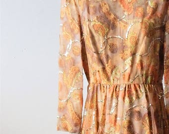 Vintage 60s-70s Sequined Boho Paisley Gown Made in Hong Kong