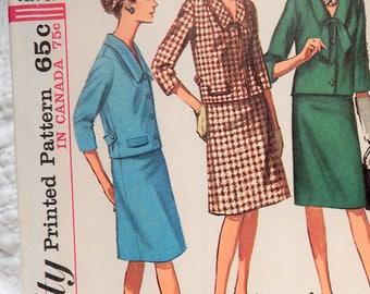"Vintage 1965 Simplicity 2 Pc Dress Pattern 6193 39"" Bust Cut Complete"