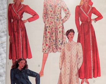 1980's McCalls 7789 Robes & House Coats with Wrap or Button Front Size Medium 14/16 UNCUT