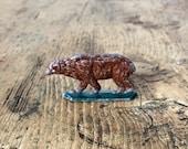 Vintage German Metal quot Putz quot Toy Miniature Brown Bear Antique German Christmas