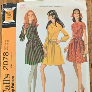 Vintage 1969 McCall/'s 1086 Sewing Pattern Misses/' PantDress or Dress Size 14 Bust 36