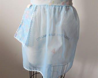 Vintage Sheer Blue Rick Rack Pocket Half Apron