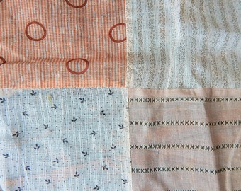 """Quilt Top Large Pieces of 19th Century Shirting and Voile 69"""" x 84"""""""