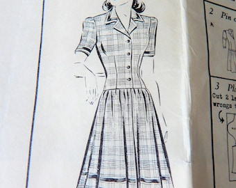 "Vintage Barbara Bell Pattern 1685 1940's Dress ""Simple Dirndl Frock"" 30"" bust Uncut"