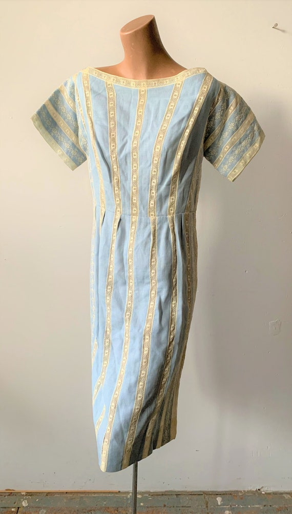 Stunning Vintage Moygashel Linen and Lace Dress by