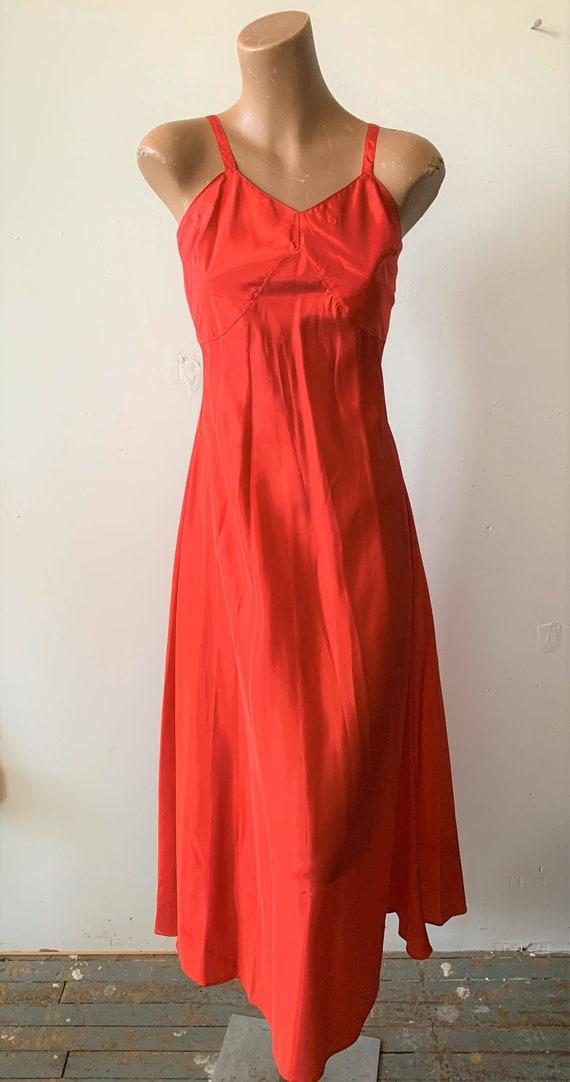 "Vintage 1940s Red Full Slip 32"" bust Petite Small"