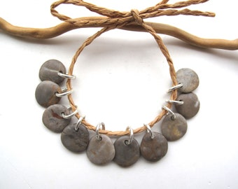 Drilled Beach Stone Charms Patina Copper Jump Rings Dangles River Rocks Lake Stones Pebbles Natural Supplies diy Jewelry Beads GET RUSTIC
