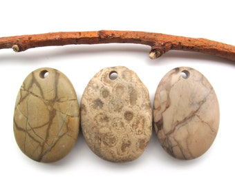 Stones with Holes Organic Charms Top Drilled Beach Stone Jewelry Wholesale Stones Sticks River Rock Pendants Beach Stone Earrings