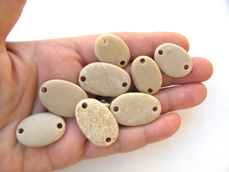 Drilled Natural River Rock Connectors for Jewellery Making from Mediterranean OATMEAL LINKS 22-28 mm