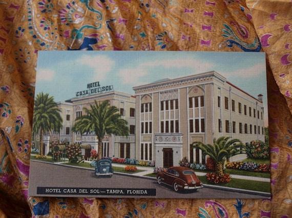 Postcard Hotel Casa Del Sol Tampa Florida Building 1940/'s 1950/'s Cars Auto Souvenir Advertisement Travel Neon Sign Palm Trees